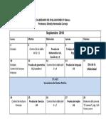 Calendario de Evaluaciones Septiembre