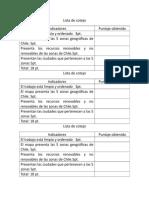 Lista de Cotejo Mapa de Chile