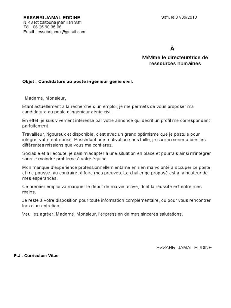 lettre de motivation ing u00e9nieur genie civil