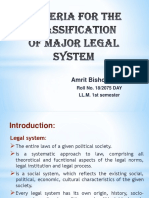 Criteria for the Classification of Major Legal System