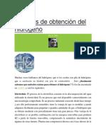 Metodos de Obtención Del Hidrógeno