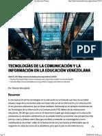 Tecnologías de La Comunicación y La Información en La Educación Venezolana – OtrasVocesenEducacion.org