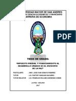 Impuesto Predial y Financiamiento Al Desarrollo Urbano La Paz