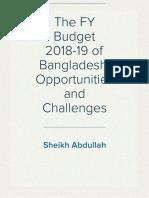 The FY Budget 2018-19 of Bangladesh