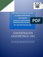 Concentracion Gravimetrica Oro