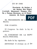 LEY N°15481 CREACION DE DISTRITOS Y PROVINCIA DE SATIPO