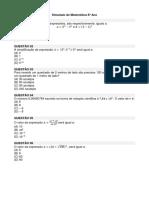 Simulado de Matemática 8º Ano