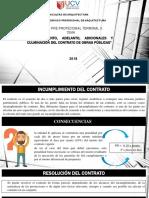 INCUMPLIMIENTO, ADELANTO, ADICIONALES Y CULMINACIÓN DEL CONTRATO DE OBRAS PÚBLICAS