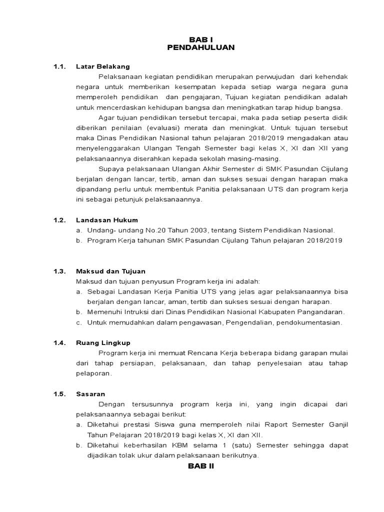 Program Kerja Uts Ganjil 2018