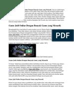 Game Judi Online Dengan Banyak Game Yang Menarik