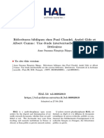 Thèse Réécritures Bibliques Chez Paul Claudel, André Gide Et Albert Camus