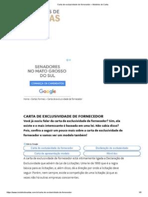 Carta De Autorização Modelos De Carta