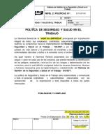 PLT-SST-001 Política de Seguridad y Salud en El Trabajo