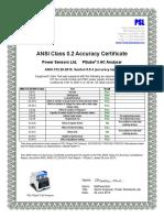 PSL ANSI C12.20 2010 Class 0.2 Certificate PQube 3 Rev 08-17-15