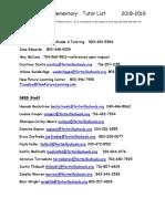 tutor list 2018-2019