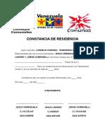 Constancia de Residencia Sector II