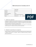 Silabo de Elementos de La Construccion III - Plan 2015