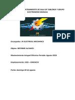Informe de Mantenimiento de Sala de Tableros y Grupo Electrogeno Modasa