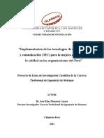 TICs  Implementación de las tecnologías de información y comunicación (TIC) para la mejora continua de la calidad en las organizaciones del Perú