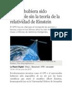 El GPS Hubiera Sido Imposible Sin La Teoría de La Relatividad de Einstein