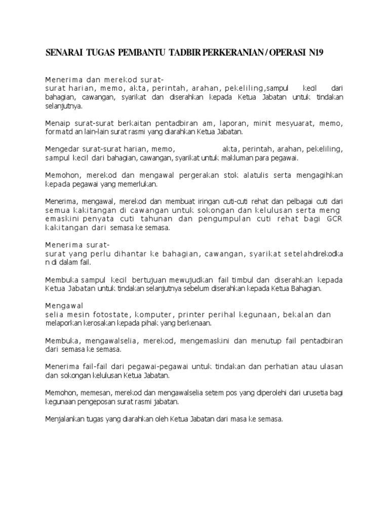 Deskripsi Tugas Pembantu Tadbir Perkeranian Operasi Gred N19