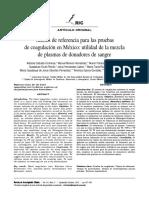 Valores de Referencia Para Las Pruebas de Coagulacion en Mexico