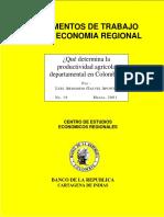 Qué determina la productividad agrícola departamental de colombia