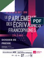 Programme du Parlement Des Écrivaines Francophones