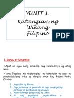 Katangian ng wikang filipino