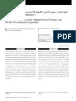 """Adaptación española del """"Mobile Phone Problem Use Scale"""""""