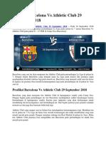 Prediksi Barcelona vs Athletic Club 29 September 2018