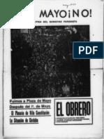 El Obrero 1974 Mayo. 1 de Mayo No a La Politica Del Gobierno
