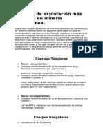 Métodos de explotación más comunes en minería subterránea