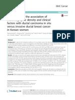 Comparación de La Asociación de La Densidad Mamográfica y Los Factores Clínicos Con El Carcinoma Ductal in Situ Versus El Cáncer de Mama Ductal Invasivo en Mujeres Coreanas 2017