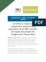 Le RVHQ se réjouit de l'opposition massive de la population de la MRC La Côte-de-Gaspé aux projets de forages avec fracturation