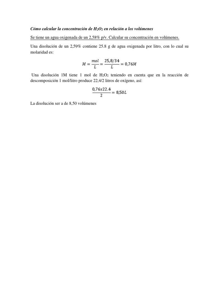 Cómo Calcular La Concentración De H2o2 En Relación A Los Volúmenes Química Química Analítica