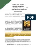 Lipovetsky La Felicidad Hipermoderna