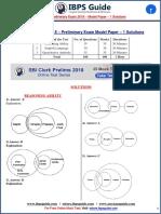 SBI Clerk Prelims 2018 - Model Paper- 1 Solutions