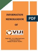 Sample Information Memorandum