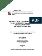 Extracción de Luteína - Estabilidad Por Microencapsulacion