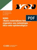 Artnodes 14-Nodo-Nuevo materialismo feminista. Engendrar una metodología ético-onto-epistemológica.