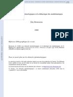 Brousseau 1989 Obstacles Et Didactique