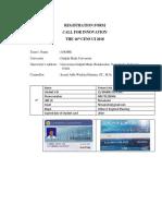 Registration Form TeamName University