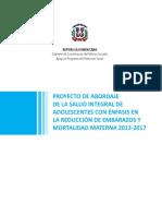 Proyecto de abordaje de la salud integral de adolescentes con énfasis en la reducción de embarazos y mortalidad materna 2013-2017