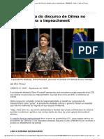 ROUSSEFF. Discurso de Defesa Contra o Impeachment No Senado