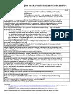 book selection checklist