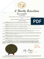 NC Governor  Proclamation for October 2 Extra Session