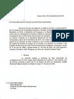 Carta dirigida a la fiscal de la Corte Penal Internacional