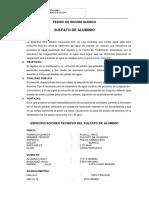 Requerimiento de Sulfato de Aluminio 2018