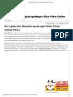 Kerugian Jika Bergabung Dengan Situs Poker Online Palsu